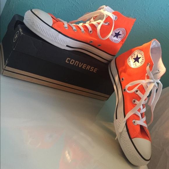 768bbf393d8f Converse Shoes - Neon Orange Converse High Tops